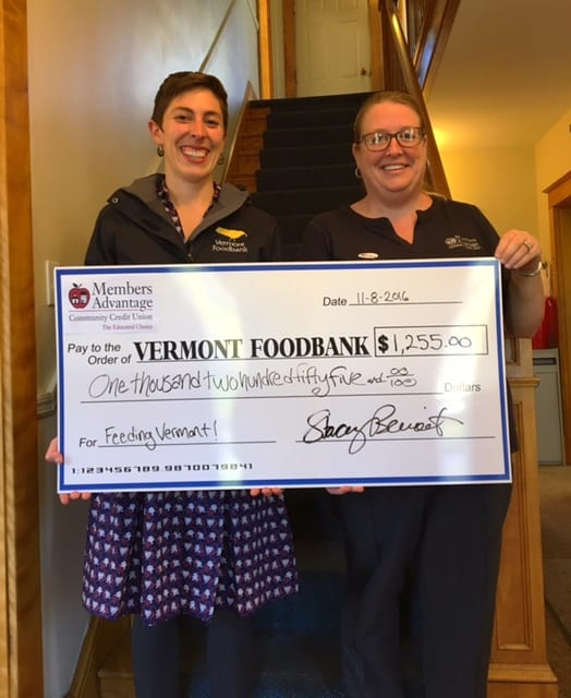 Check presented for Vermont Foodbank